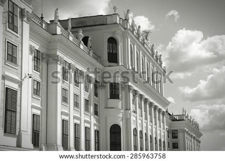 Vienna, Austria - Schoenbrunn Palace, a UNESCO World Heritage Site. Black and white retro style. - stock photo