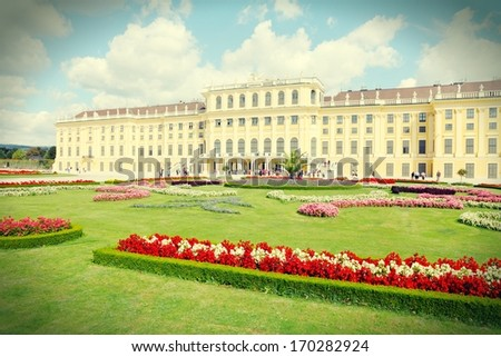 Vienna, Austria - Schoenbrunn Palace, a UNESCO World Heritage Site. Cross processed retro color tone. - stock photo