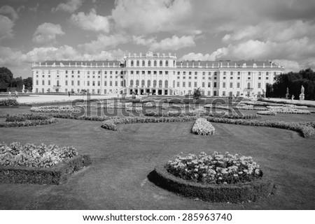 Vienna, Austria - Schoenbrunn Palace. Black and white retro style. - stock photo