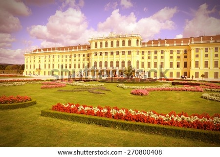 Vienna, Austria - Schoenbrunn Palace. Retro color style - cross processed filtered colors tone. - stock photo