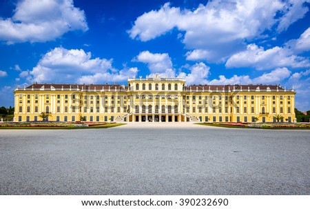 Vienna, Austria. Schonbrunn Palace is former imperial summer residence located in Wien city. Main touristic atteraction and landmark of Austrian capital city. - stock photo