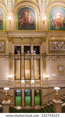 VIENNA, AUSTRIA - SEPTEMBER 28, 2015: entrance to Vienna State Opera House. Wiener Staatsoper produces 50-70 operas and ballets in about 300 performance per year