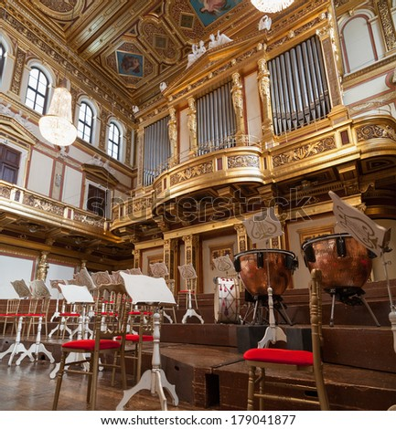 VIENNA, AUSTRIA - SEPTEMBER 07: Golden Hall in the Wiener Musikverein, concert hall. It is the home to the Vienna Philharmonic orchestra on Sept. 07, 2013. Vienna, Austria.