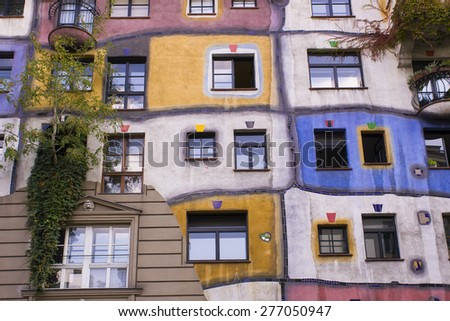 VIENNA, AUSTRIA - SEPTEMBER 14, 2003: Hundertwasser Haus, a residential apartment building, designed by Friedensreich Hundertwasser in 1985.