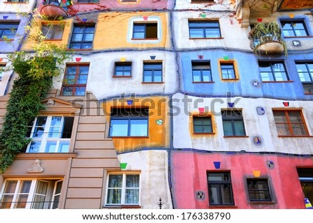 VIENNA, AUSTRIA - SEPTEMBER 6, 2011: Hundertwasser Haus in Vienna. The iconic building was finished in 1985 and is one of finest examples of expressionist architecture.