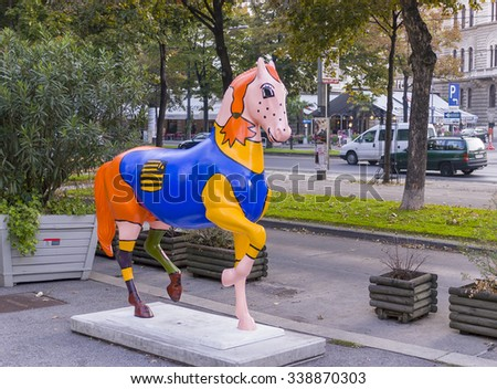 VIENNA, AUSTRIA - SEPTEMBER 2003: painted horse sculpture.