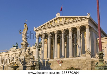 VIENNA, AUSTRIA - SEPTEMBER 2003: Parliament building, in Greek revival architecture style. In front is the Athenebrunnen, a fountain featuring a figure of Athena, the Greek goddess of wisdom.