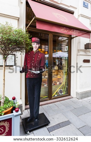 VIENNA, AUSTRIA - SEPTEMBER 27, 2015: Saher Hotel and famous Sachertorte chocolate cakes. Sachertorte is one of the most famous Viennese culinary specialties invented by Franz Sacher in 1832