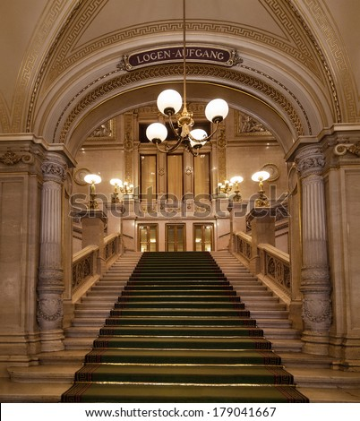 VIENNA, AUSTRIA - SEPTEMBER 06: Stairs in the Vienna State Opera on Sept. 06, 2013. Vienna, Austria.