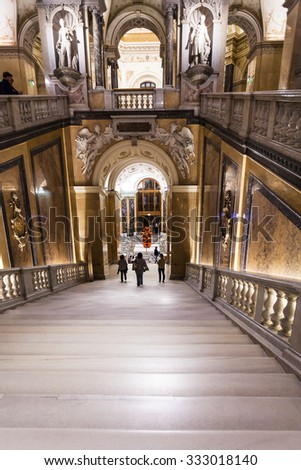 VIENNA, AUSTRIA - SEPTEMBER 30, 2015: steps go to exit from Naturhistorisches museum, Vienna.The Museum ( NHMW) is a large natural history museum, it was opened in 1891 by Emperor Franz Joseph - stock photo