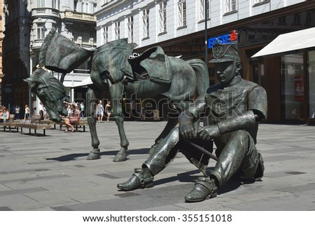 "VIENNA, AUSTRIA - September 01: temporary installation "" Monumental Break "" by the french artist Julien Berthier at Graben street in Vienna, Austria on september 01, 2015 - stock photo"