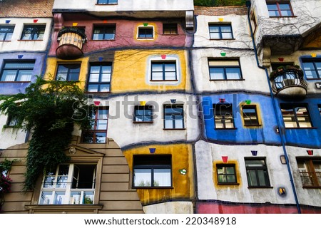 VIENNA,AUSTRIA-September 10:The Hundertwasser House on September 10,2014 in Vienna.Has become part of Austria's cultural heritage,it's an apartment house.Concept of artist Friedensreich Hundertwasser. - stock photo