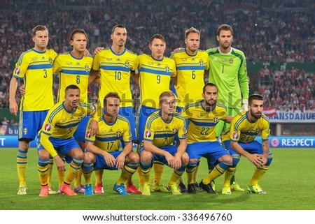 VIENNA, AUSTRIA - SEPTEMBER 9, 2014: The team of Sweden poses before an European Championship qualifying game. - stock photo