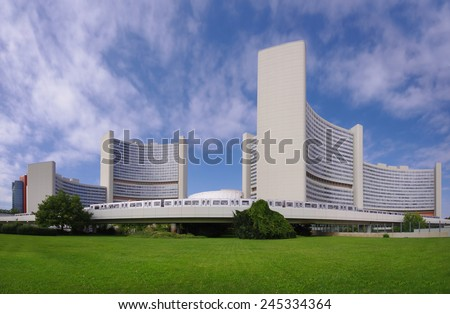 VIENNA, AUSTRIA - SEPTEMBER 16: The Vienna International Centre (VIC) is the campus and building complex hosting the United Nations Office at Vienna. Photo taken on September 16, 2011 in Vienna  - stock photo