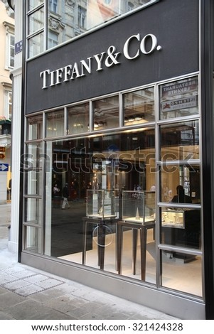 VIENNA, AUSTRIA - SEPTEMBER 5, 2011: Tiffany & Co store in Vienna. The jewelry company founded in 1837 is among most recognized luxury brands in the world.