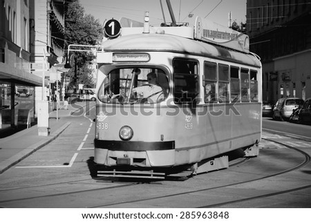 VIENNA, AUSTRIA - SEPTEMBER 6, 2011: Tramway in Vienna. With 172km total length, Vienna Tram network is among largest in the world. In 2009 186.9m passengers used Vienna trams.