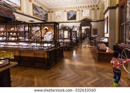 VIENNA, AUSTRIA - SEPTEMBER 30, 2015: visitor in halls of Naturhistorisches museum, Vienna.The Museum ( NHMW) is a large natural history museum, it was opened in 1891 by Emperor Franz Joseph - stock photo