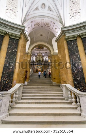 VIENNA, AUSTRIA - SEPTEMBER 30, 2015: visitors at steps in Naturhistorisches museum, Vienna.The Museum ( NHMW) is a large natural history museum, it was opened in 1891 by Emperor Franz Joseph - stock photo
