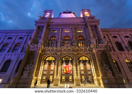 VIENNA, AUSTRIA - SEPTEMBER 30, 2015: visitors near doors Naturhistorisches museum on Maria Theresien Platz in evening, Vienna. The Museum of Natural History was opened in 1891 by Emperor Franz Joseph - stock photo