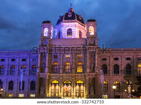 VIENNA, AUSTRIA - SEPTEMBER 30, 2015: visitors near facade Naturhistorisches museum on Maria Theresien Platz in evening, Vienna. The Museum of Natural History was opened in1891 by Emperor Franz Joseph - stock photo