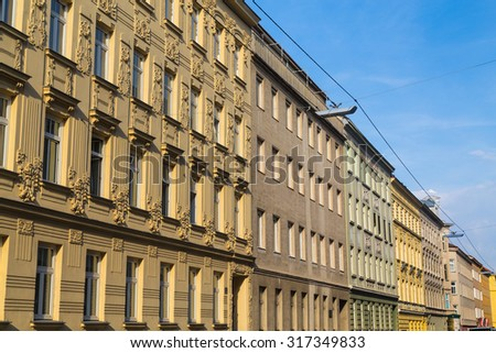 VIENNA, AUSTRIA - 21ST AUGUST 2015: The outside of buildings along streets of Vienna. Buildings such as the ones in the image can be found throughout Vienna.