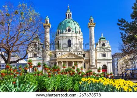 Vienna - beautiful baroque St. Charle's church - stock photo