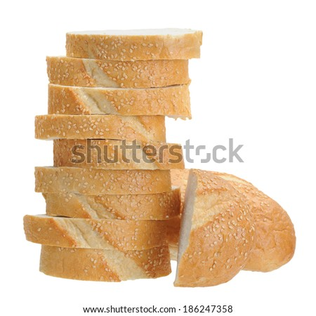 Vienna bread slice isolated on white