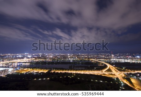 Vienna city at night, wide view from Daube Tower