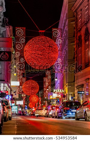 vienna city lights in the night - Rotenturmstrasse with its typical red decorations during Christmas time. december 2016
