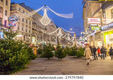 Vienna - December 23: Christmas trees on the Graben street at Christmas, December 23, 2013, Vienna, Austria - stock photo