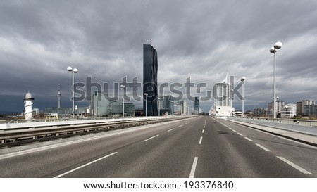 Vienna - Highway with modern architecture  - stock photo
