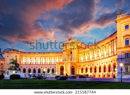 Vienna Hofburg Imperial Palace at night - Austria - stock photo