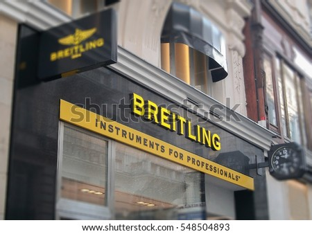 Vienna January 01, 2017. Breitling store front. Breitling in one of the leading luxury watches producers in the world and has been founded in 1884.