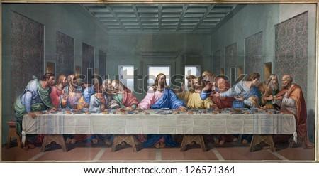 VIENNA - JANUARY 15: Mosaic of Last supper of Jesus by Giacomo Raffaelli in the Minoriten church from year 1816 as copy of Leonardo da Vinci work on January 15. 2013 in Vienna. - stock photo