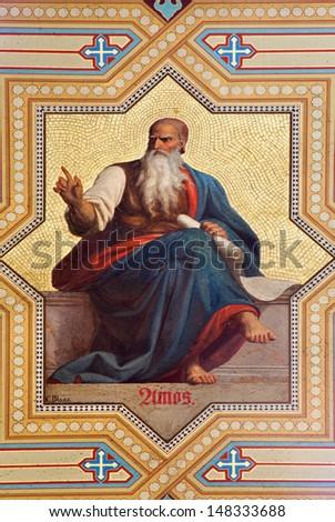 VIENNA - JULY 27: Fresco of Amos prophets by  Karl von Blaas from 19. cent. in Altlerchenfelder church on July 27, 2013 Vienna.  - stock photo