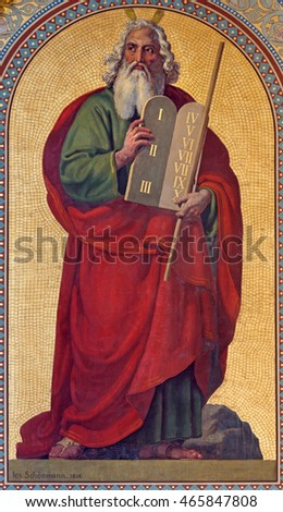 VIENNA - JULY 27:  Fresco of Moses by Joseph Schonman from year 1857 in Altlerchenfelder church on July 27, 2013 Vienna.