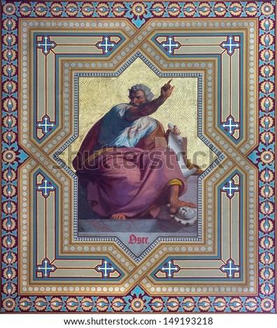 VIENNA - JULY 27: Fresco of Zephaniah prophets from 19. cent. by Carl Mayer in Altlerchenfelder church on July 27, 2013 Vienna.  - stock photo