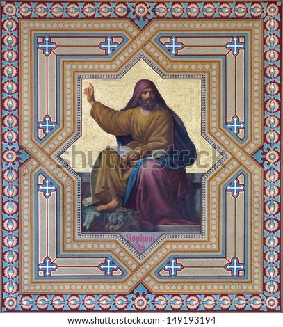 VIENNA - JULY 27: Fresco of  Zephanjah prophets from 19. cent. by Carl Mayer in Altlerchenfelder church on July 27, 2013 Vienna.  - stock photo