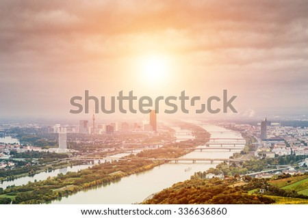 Vienna landscape with Danube river from  Kahlenberg mountain - stock photo