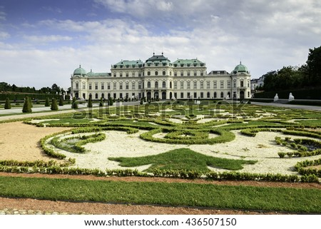 VIENNA - MAY 18 : Belvedere Palace welcomes the visitors and tourists on May 18, 2016 in Vienna Austria. Belvedere Palace is an historic building complex with Palace Stables.