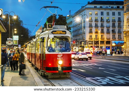 VIENNA - OCTOBER 20: Old fashioned tram on October 20, 2014 in Vienna, Austria. Vienna has an extensive train and bus network. - stock photo