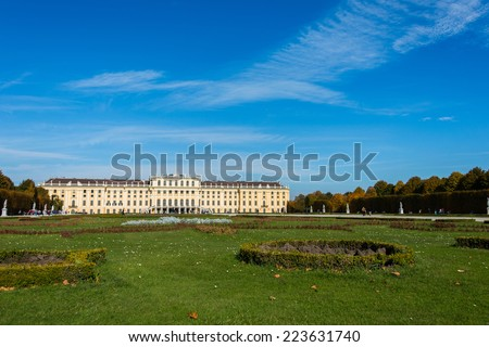Vienna - OCTOBER 14: Schonbrunn Palace on October 14 in Vienna, Austria. Schonbrunn Palace building is one of the most popular tourist attractions in Vienna - stock photo