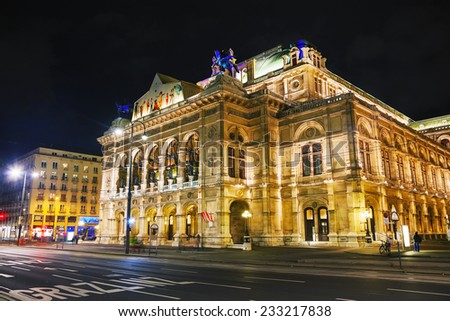 VIENNA - OCTOBER 20: Vienna State Opera at night on October 19, 2014 in Vienna. It's an opera house �¢?? and opera company �¢?? with a history dating back to the mid-19th century. - stock photo