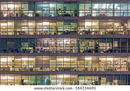 Vienna - offices at night - stock photo
