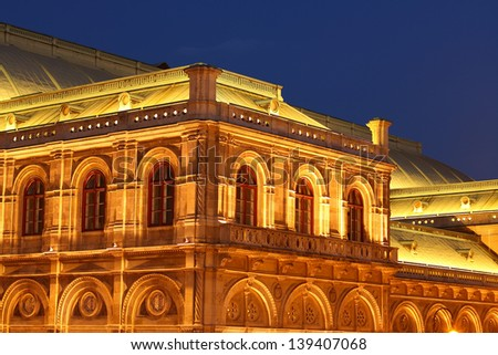 vienna opera by night - stock photo