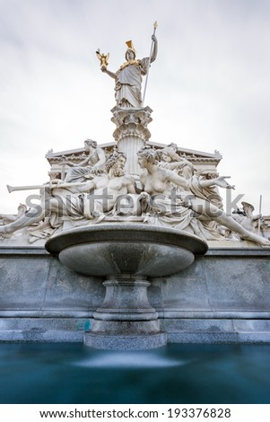 Vienna - Pallas-Athene fountain in front of parliament - stock photo