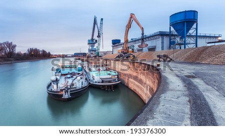 Vienna - port at night with boat - stock photo