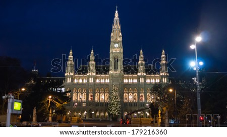 Vienna's City Hall at night, Austria.  - stock photo