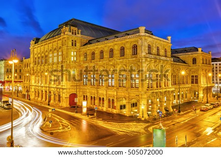 Vienna's State Opera House at night, Austria