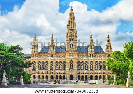 Vienna's Town Hall (Rathaus) at daytime.Vienna. Austria. - stock photo